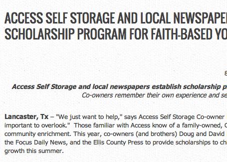 PR: Access Self Storage scholarship